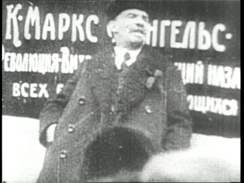 Russian revolutionary Vladimir Lenin delivers a speech at a rally