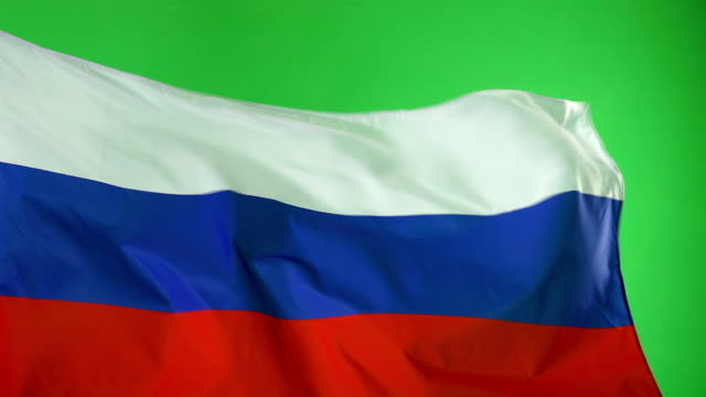 Russian Russia Flag on green screen, Real video, not CGI - Super Slow Motion