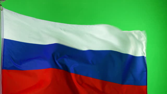 4K: Russian Russia Flag on green screen, Real video, not CGI
