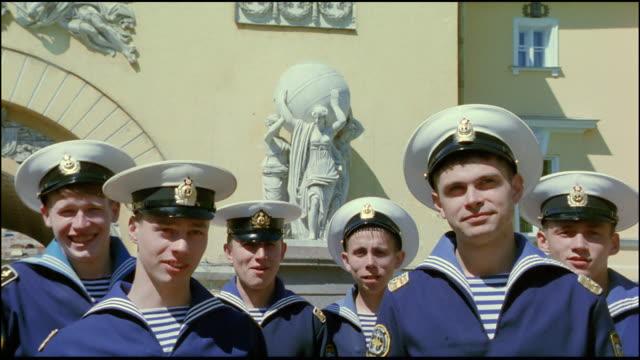 russian sailors smile and laugh. - 東ヨーロッパ民族点の映像素材/bロール