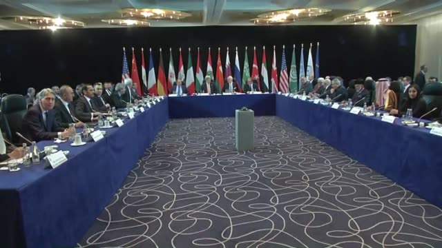 Russian Secretary of State Sergei Lavrov US Foreign Secretary John Kerry Turkish Foreign Minister Mevlut Cavusoglu and other ministers attend the...