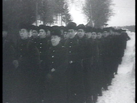 russian soldiers leave kirkkonummi after the ussr returned the porkkala naval base to finland village in snow soviet navy soldiers get into train /... - 1955 stock videos & royalty-free footage