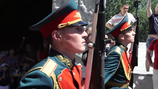 russian soldiers marching in volgograd - russia stock videos & royalty-free footage