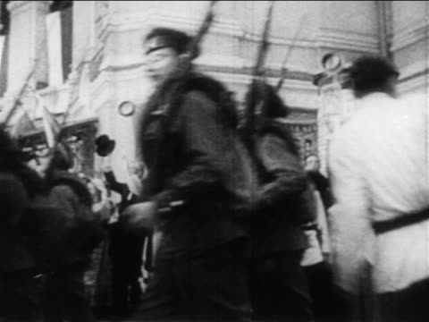 russian soldiers marching past cheering crowd to russojapanese war / documentary - 1904 stock videos & royalty-free footage