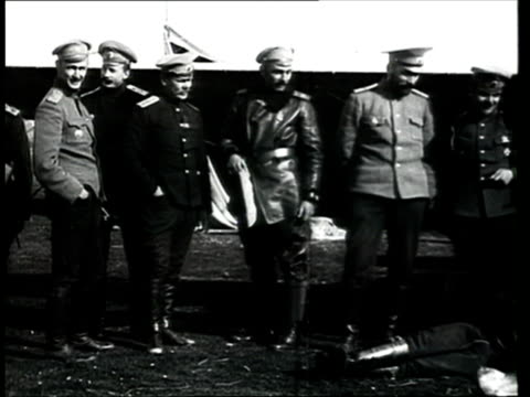 1915 B/W WS PAN Russian soldiers standing in a row in front of propeller aeroplane/ Russia