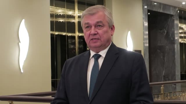 Russian Special Presidential Envoy for Syria Alexander Lavrentiev speaks to the media following the first day of the 7th round of Syria peace talks...