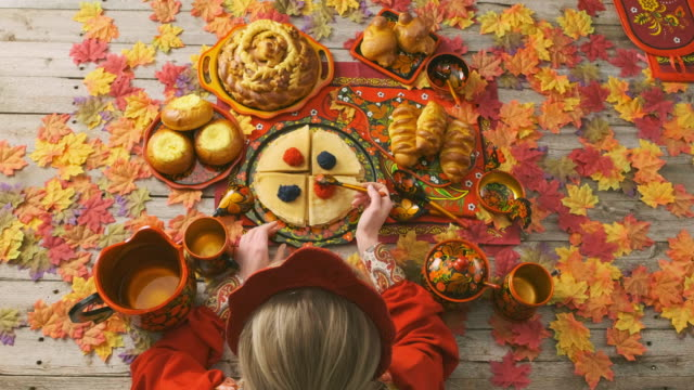 Russian Traditional Holiday Bread on a Table - Top Down View