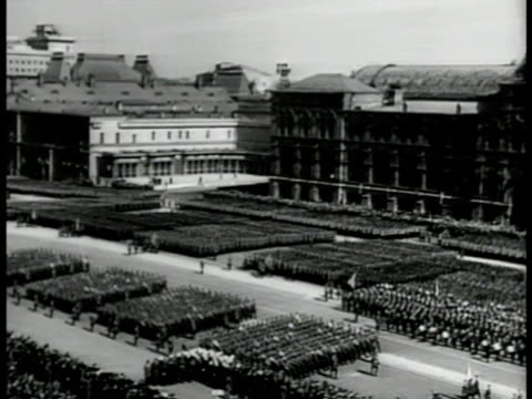russian troops marching lined up in formation may day parade red square moscow ms dictator joseph stalin watching ha ws soldiers marching ms stalin... - former soviet union stock videos & royalty-free footage
