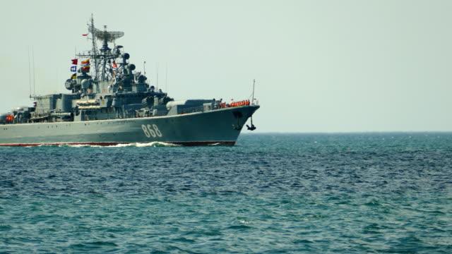 russian warship at sea - convoy stock videos & royalty-free footage