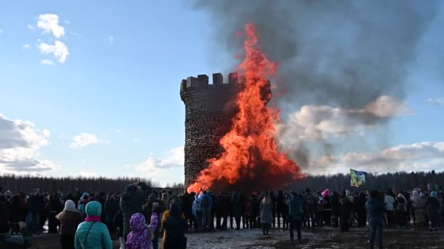 russians celebrate maslenitsa by burning a effigy of the bastille prison tower the symbol of the 1789 french revolution during the celebration of the... - french revolution stock videos & royalty-free footage
