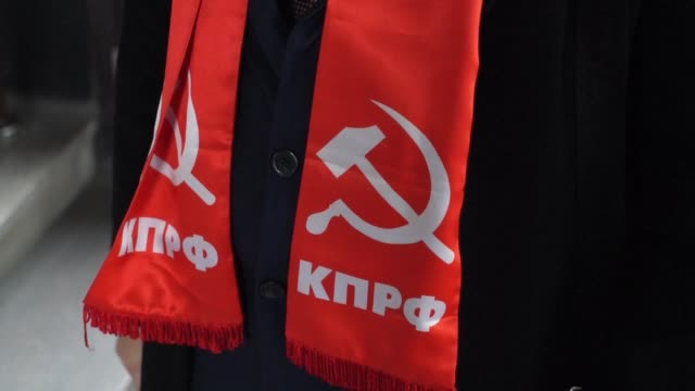 russia's communist party calls for rallies to celebrate 100 years since the 1917 bolshevik revolution in contrast to the government which has... - communist party stock videos and b-roll footage
