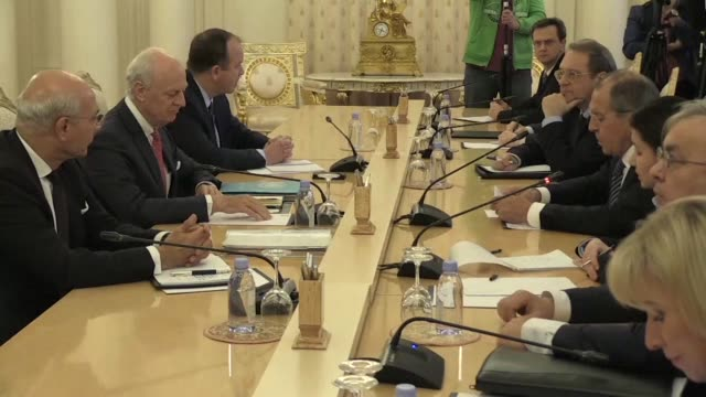 russia's foreign minister sergei lavrov meets un syria envoy staffan de mistura in moscow - diplomacy stock videos and b-roll footage