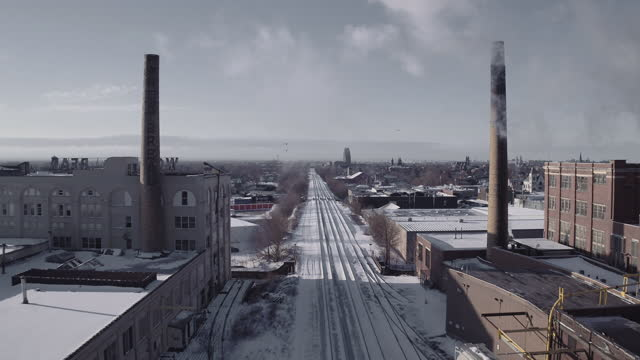 rustbelt landscape - aerial in buffalo, new york - buffalo new york state stock videos & royalty-free footage