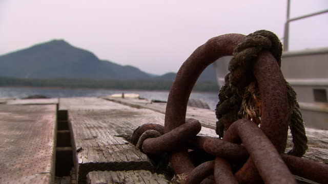 """cu of rusted ring with weathered rope on wooden pier, ketchikan, ketchikan borough, alaska"" - weathered stock videos and b-roll footage"