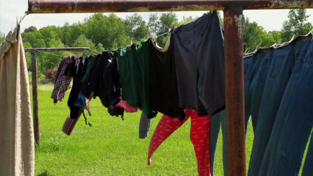 rustic clothelines-tight - washing line stock videos & royalty-free footage