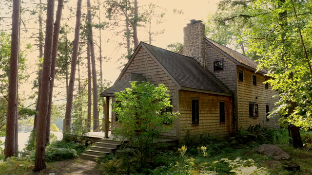 rustic house in the woods above a lake - upper peninsula stock videos & royalty-free footage