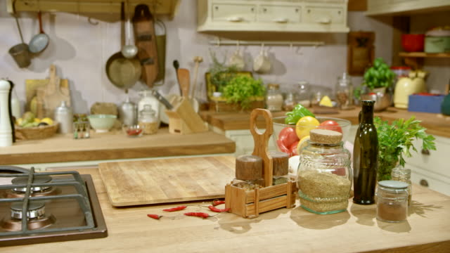 ds rustic style kitchen - kitchen worktop stock videos and b-roll footage