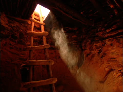 A rustic wooden ladder in a dirt cave with a shaft of light pouring in the open door.