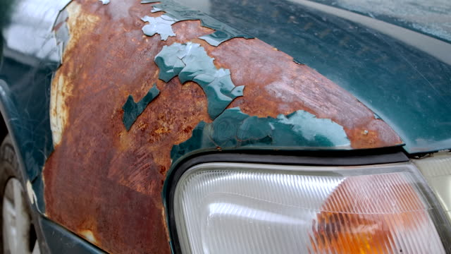 4k rusting old cars, the paint falls off. the old green car in the off-color condition - damaged stock videos & royalty-free footage