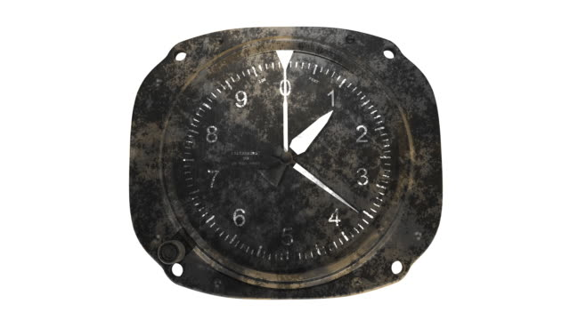 Rusty altimeter on white background