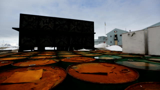 rusty barrels at vernadsky research base in antarctica - glacier stock videos & royalty-free footage