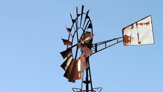 rusty old windmill wheel - imperfection stock videos & royalty-free footage