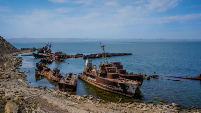 tl rusty ship on the coast, nargin island / azerbaijan, baku - rusty stock videos & royalty-free footage