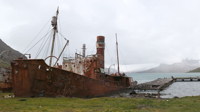 rusty ship wreck at abandoned whaling station on overcast day - imperfection stock videos & royalty-free footage