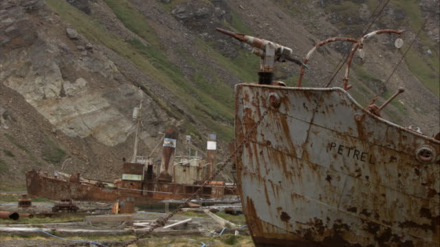 vídeos de stock, filmes e b-roll de cu, rusty shipwrecks, grytviken, south georgia island - escrita ocidental