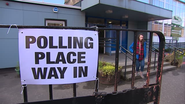 ruth davidson places her vote in glasgow. shows exterior shots people arriving at polling station in glasgow. on may 07, 2015 in glasgow, scotland. - ballot box stock videos & royalty-free footage