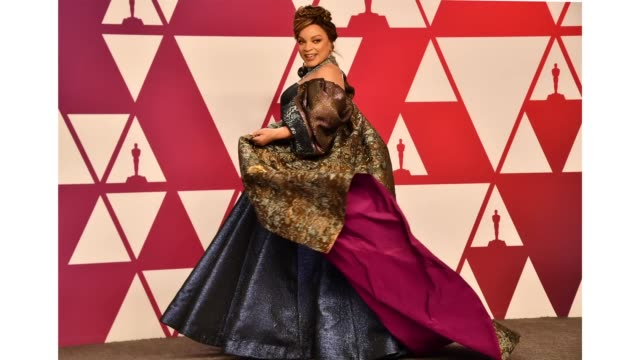 Ruth E Carter winner of Best Costume Design for 'Black Panther' poses in the press room during the 91st Annual Academy Awards at Hollywood and...