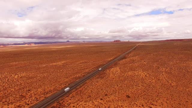 AERIAL RVs driving through a desert