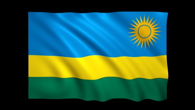 rwanda flag loopable alpha included - stock video - satin stock videos & royalty-free footage