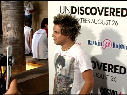 Ryan Cabrera at the 'Undiscovered' Los Angeles Premiere at the Egyptian Theatre in Hollywood California on August 23 2005