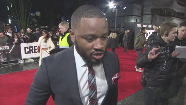 interview ryan coogler on being proud of the film at 'creed' european premiere on january 12 2016 in london england - ryan coogler stock videos and b-roll footage