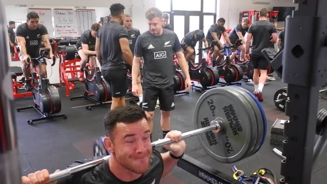 Ryan Crotty of the New Zealand All Blacks squats during a gym session on November 19 2018 in RomeItaly