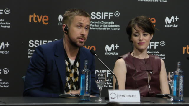ryan gosling and claire foy attends the ' first man' press conference during the 66th san sebastian film festival in san sebastian, spain, on... - ryan gosling stock videos & royalty-free footage