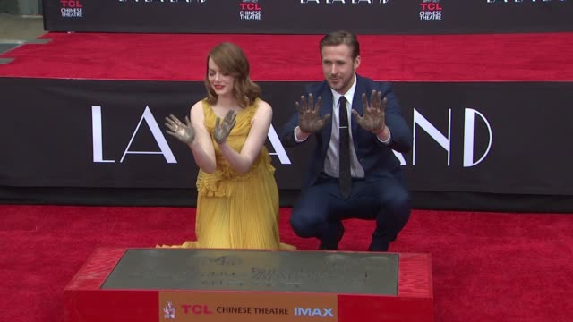 ryan gosling and emma stone at tcl chinese theatre on december 07 2016 in hollywood california - ryan gosling stock videos and b-roll footage