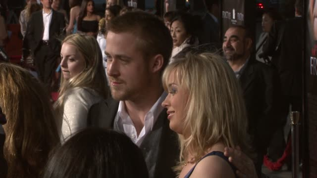 ryan gosling and guest at the 'fracture' premiere at the mann village theatre in westwood, california on april 11, 2007. - gosling stock videos & royalty-free footage