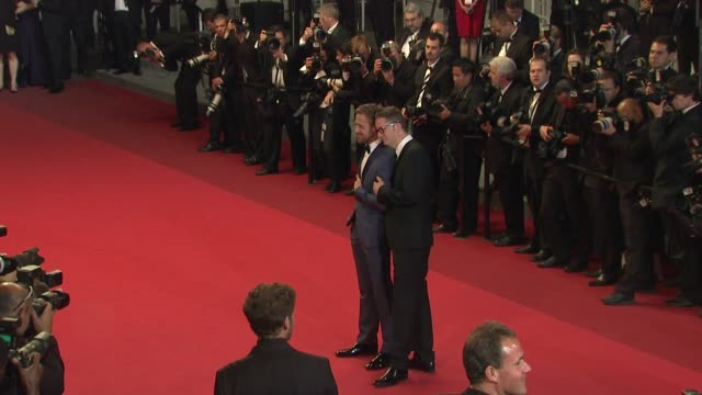 ryan gosling and nicolas winding refn at the 'drive' red carpet arrivals: 64th cannes film festival at cannes . - gosling stock videos & royalty-free footage