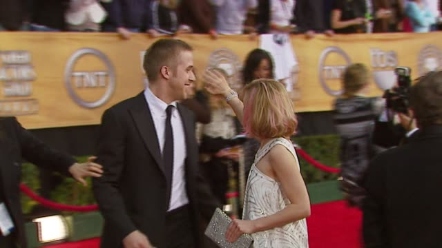 ryan gosling and rachel mcadams at the 2007 screen actors guild sag awards at the shrine auditorium in los angeles california on january 28 2007 - ryan gosling stock videos and b-roll footage
