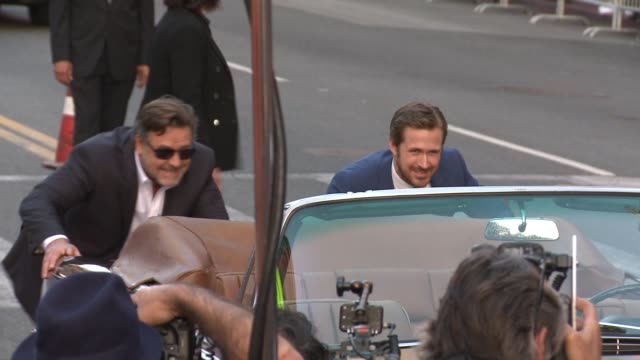 "stockvideo's en b-roll-footage met ryan gosling and russell crowe at ""the nice guys"" los angeles premiere at tcl chinese theatre on may 10, 2016 in hollywood, california. - tcl chinese theatre"