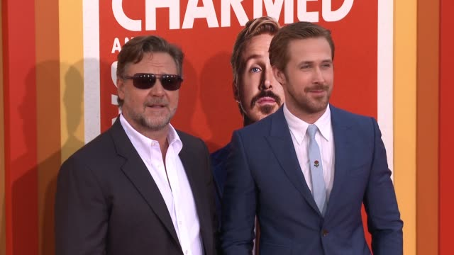 ryan gosling and russell crowe at the nice guys los angeles premiere at tcl chinese theatre on may 10 2016 in hollywood california - russell crowe stock videos & royalty-free footage