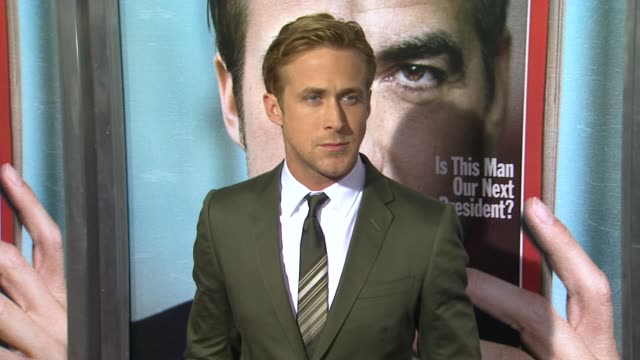 ryan gosling at the 'the ides of march' los angeles premiere at beverly hills ca. - ryan gosling stock videos & royalty-free footage