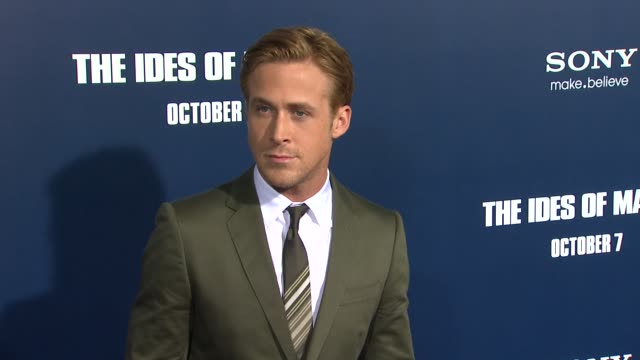 ryan gosling at the 'the ides of march' los angeles premiere at beverly hills ca - ryan gosling stock videos and b-roll footage