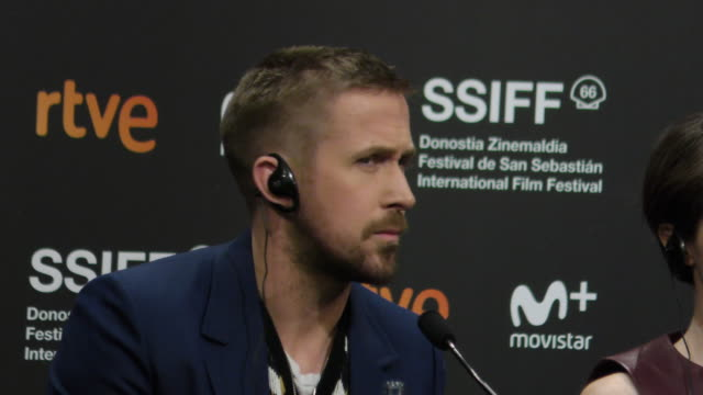 ryan gosling attends the ' first man' press conference during the 66th san sebastian film festival in san sebastian, spain, on september 24, 2018. - ryan gosling stock videos & royalty-free footage