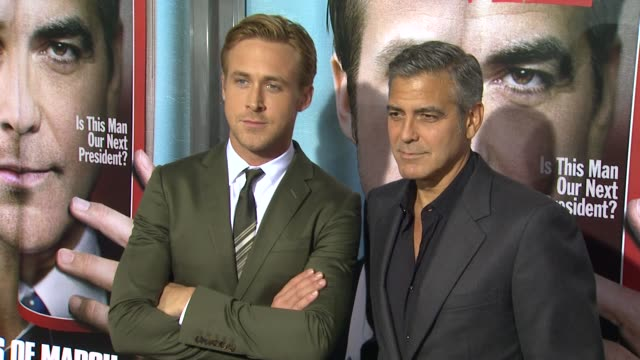 Ryan Gosling George Clooney at the 'The Ides Of March' Los Angeles Premiere at Beverly Hills CA