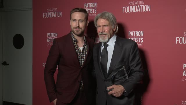 ryan gosling, harrison ford at the sag-aftra foundation's 3rd annual patron of the artists awards at wallis annenberg center for the performing arts... - ryan gosling stock videos & royalty-free footage