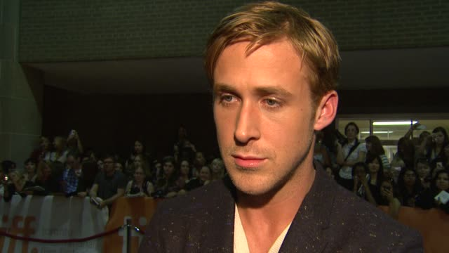 ryan gosling on approaching this movie on what he wanted to accomplish on the music in the film at the 'drive' premiere 2011 toronto international... - ryan gosling stock videos and b-roll footage