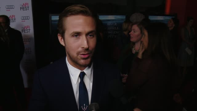 interview ryan gosling on being at the premiere at the big short world premiere closing night gala screening afi fest 2015 at tcl chinese theatre on... - ryan gosling stock videos and b-roll footage